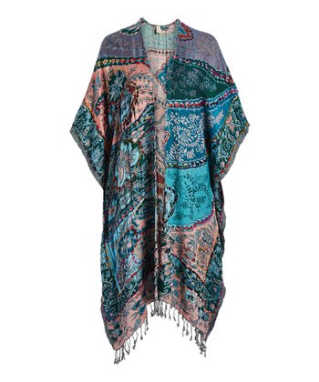 0bf987a6d Teal & Peach Paisley Fringe Kimono - Women