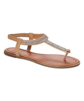 b366f2d4a742 Tan   Brown Rhinestone T-Strap Thong Sandal - Women