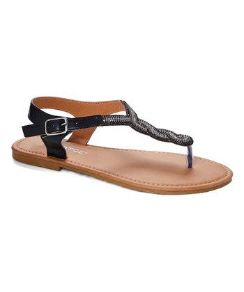 e2541017ab68 Black Rhinestone Braided Ankle-Strap Thong Sandal - Women