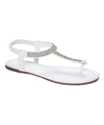 1b64f5062af5 White Rhinestone T-Strap Thong Sandal - Women