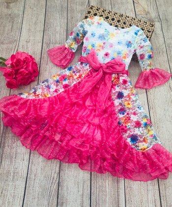f7cc14a55d3 Hot Pink Floral Ruffle Princess Dress - Girls