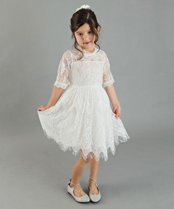 2f01a8bf634 Off-White Lace The Louvre Scallop-Hem Dress - Toddler   Girls