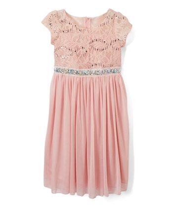 63b45d69f Blush Sequin Beaded Mesh Cap-Sleeve Dress - Girls