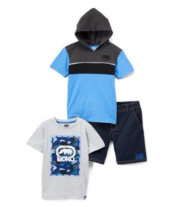 5081b35400b3 Blue   Gray Color Block Hooded Tee Set - Boys