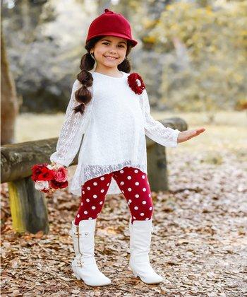 f19c889662cdf Cream Lace Hi-Low Tunic & Leggings - Toddler & Girls