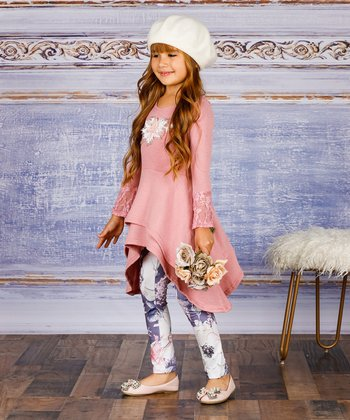 d9c540e1a9772 Pink Tiered Lace-Accent Sidetail Tunic & Rose Leggings - Toddler & Girls