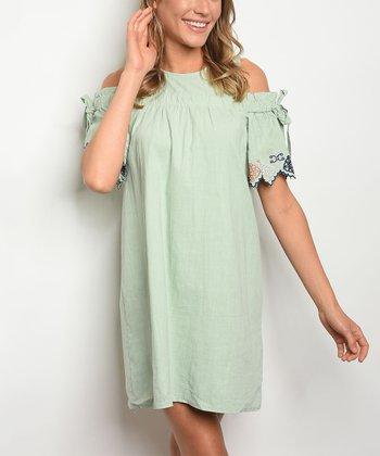 8fd8ddb6ed88b Mint Embroidery Cold-Shoulder Tunic Dress - Women