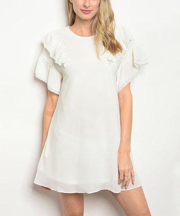 adb33c57319b2 White Flutter-Sleeve A-Line Dress - Women