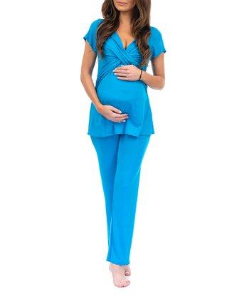 d7490cc4ae Vivid Blue Knot-Front Maternity Pajama Set - Women