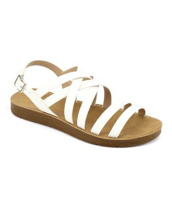 8f18bb6a77f9 White Buckle-Back Strap Delight Sandal - Women