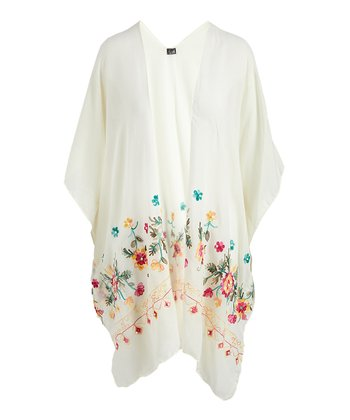 795158f46f Ivory Floral Embroidered Kimono. Coral Floral Embroidered Kimono