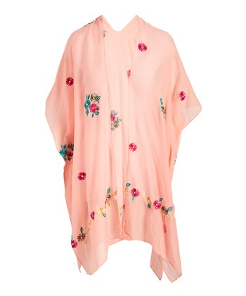 5a1b64d63a Coral Floral Embroidered Kimono