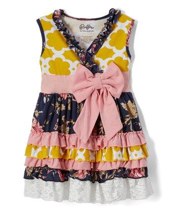edfa6585cd3de Gold & Navy Quatrefoil & Floral A-Line Dress - Girls