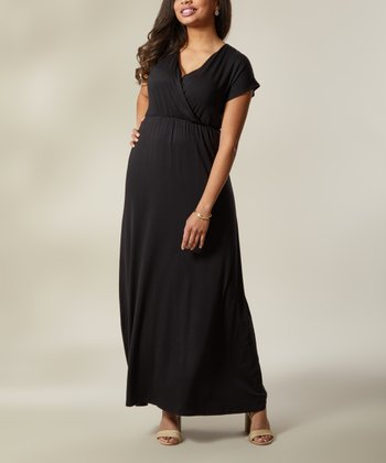 c83305620ef6 Black Surplice Maxi Dress - Women & Plus