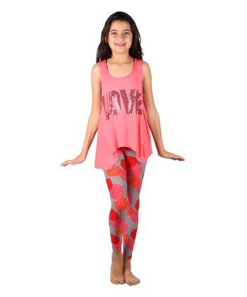 d3e869ac3c3 Coral  Love  Rhinestone Sidetail Tank   Pink Floral Leggings - Girls