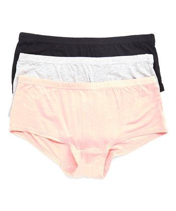 8c4735b102e Pink, Light Heather Gray & Black Game On Boyshorts Set - Women & Plus