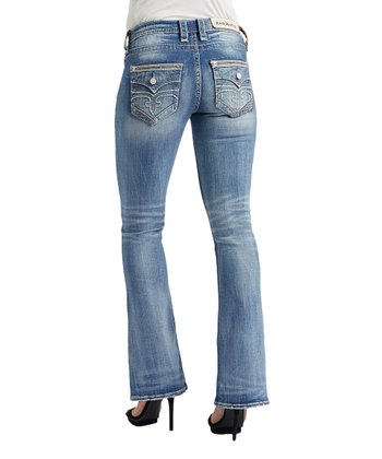 51a6fc334c9d2 Medium Blue Mid-Rise Distressed Bootcut Jeans - Women