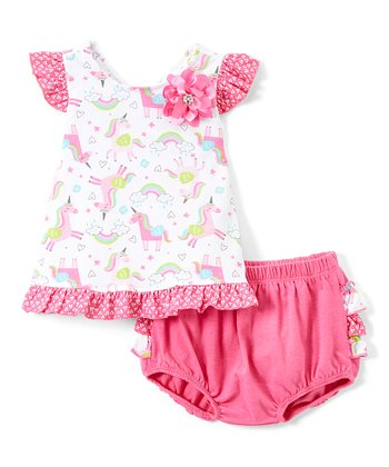 8bc0bfab26fb Pink Unicorn Flutter-Sleeve Dress & Pink Diaper Cover - Newborn & Infant