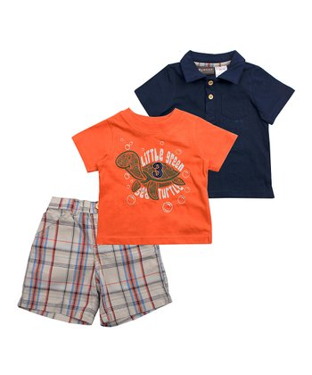 2c2b0040d Orange 'Little Green Sea Turtle' Crewneck Tee Set - Infant
