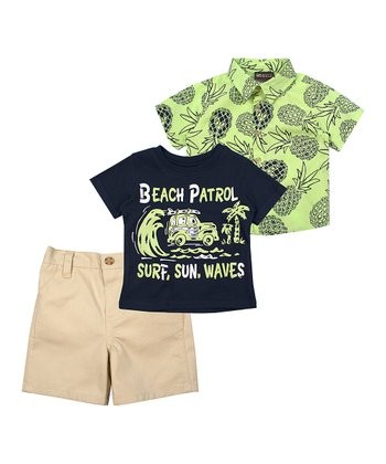 06ab6c3ee Navy 'Beach Patrol' Crewneck Tee & Khaki Shorts Set - Infant
