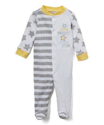 015641124 Gray & Yellow 'Shine Bright Little Star' Footie - Newborn. Light Gray & Blue  ...