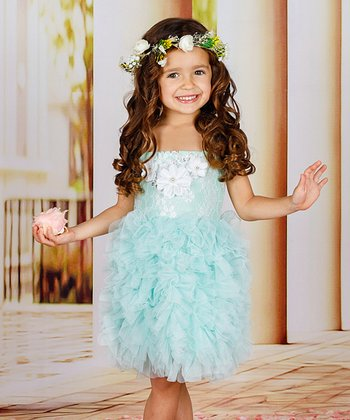 8c0a967fb4950 Mint Lace-Accent Ruffle Dress - Toddler & Girls