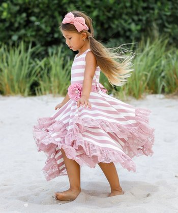 df9baecfe9c99 Pink & Crème Double Layer Handkerchief Dress - Toddler & Girls