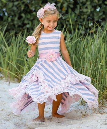 0885594d6f3dc Pink & Gray Double Layer Handkerchief Dress - Toddler & Girls