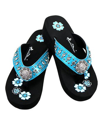 af5bf41897 Turquoise & Black Floral Rhinestone-Accent Sandal - Women