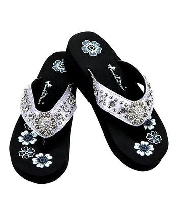d3ce3ce96010 Silver   Black Floral Rhinestone-Accent Sandal - Women