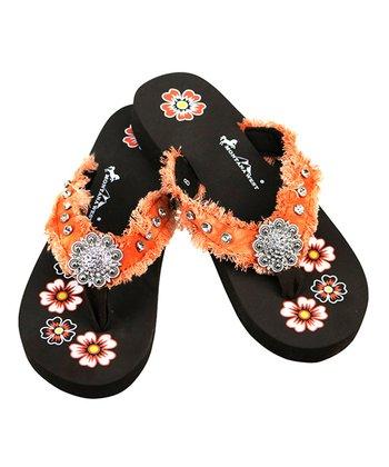48a0024ca5c4 Orange   Black Floral Rhinestone-Accent Sandal - Women