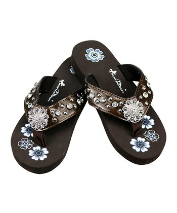 60abeafe6 Coffee   Black Floral Rhinestone-Accent Sandal - Women