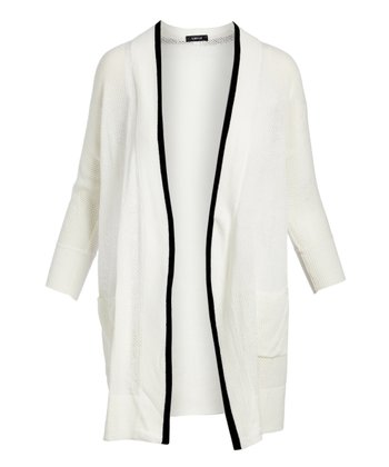 e87da3d81f80da White & Black Pocket Dolman Open Cardigan - Women