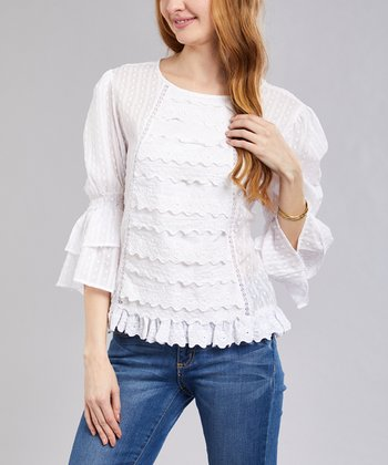 a4b935a5afc014 White Lace Three-Quarter Sleeve Top - Women