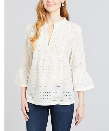 b4e2fbd4fea2cc Ivory Eyelet-Lace Bell-Sleeve Notch Neck Top - Women