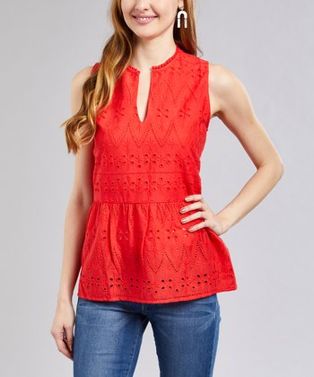 7167502152e76b Coral Eyelet Peplum Sleeveless Top - Women
