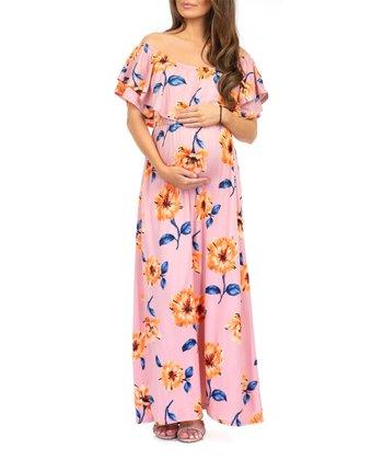 314b3e9e7789 Mauve Floral Ruffle Off-Shoulder Maternity Maxi Dress - Women