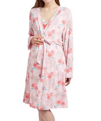 e66a9b2c6d5b7 Pink Floral Lace-Trim Maternity/Nursing Chemise & Robe