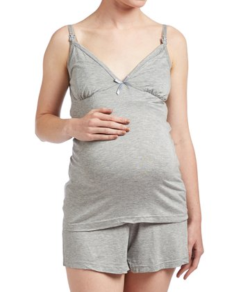 63e3aa85bd6d6 Light Gray Maternity/Nursing Pajama Set