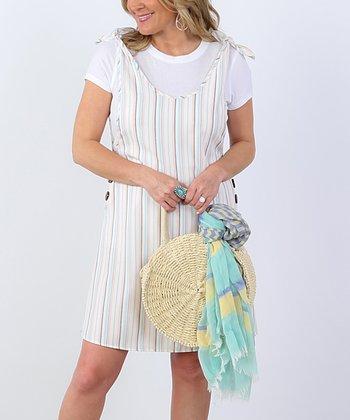 d78abd6a6f99 Mint & White Stripe Button-Accent Sleeveless Dress - Women
