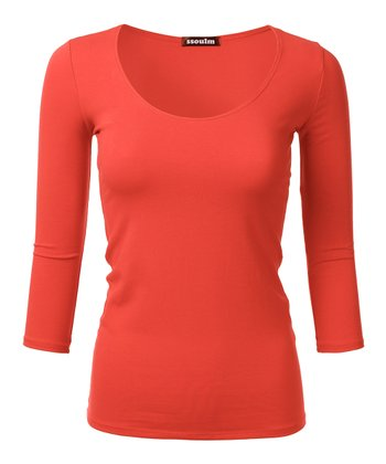 846126f33fb8e8 Orange Slim-Fit Three-Quarter Sleeve Tee - Women. Neon Pink Pleated Layered  Camisole Tank Top ...