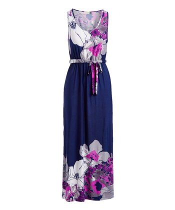 2971807531a Blue Floral Self-Tie Sleeveless Maxi Dress - Women