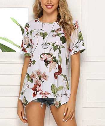 61209aad8 White & Olive Floral Sidetail Tunic - Women