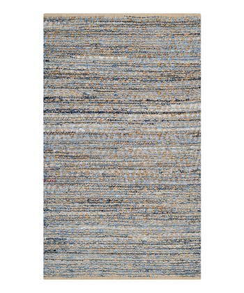 Natural Blue Sheffi Cape Cod Jute Rug