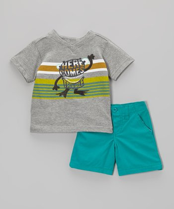 d6059f5bf Gray 'Here Comes Trouble' Tee & Teal Shorts - Infant