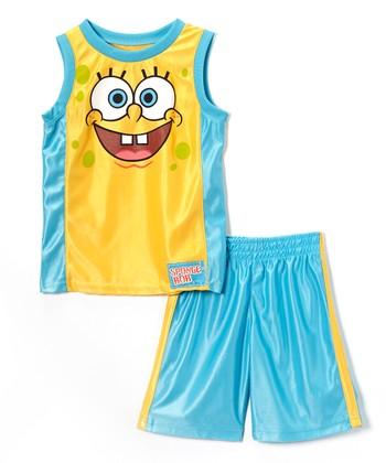 6291108a4 Yellow SpongeBob Tank & Turquoise Shorts - Boys