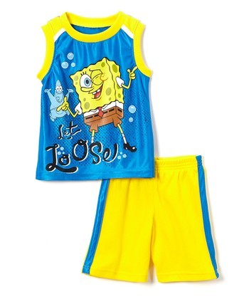 fb76333f4 Blue 'Let Loose' SpongeBob Tank & Yellow Shorts - Toddler & Boys. Turquoise  SpongeBob Tee & Navy ...
