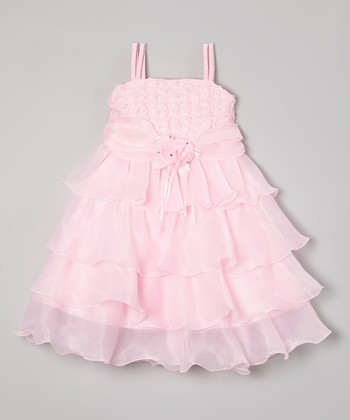 c7b08132e0ff Pink Rosette Tiered Dress - Toddler & Girls