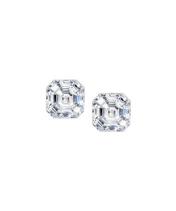 4a5cf67e214316 Cubic Zirconia   Sterling Silver Asscher-Cut Stud Earrings