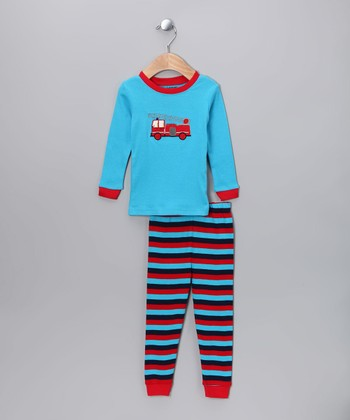 58f1176a43 Blue   Red Fire Truck Pajama Set - Infant